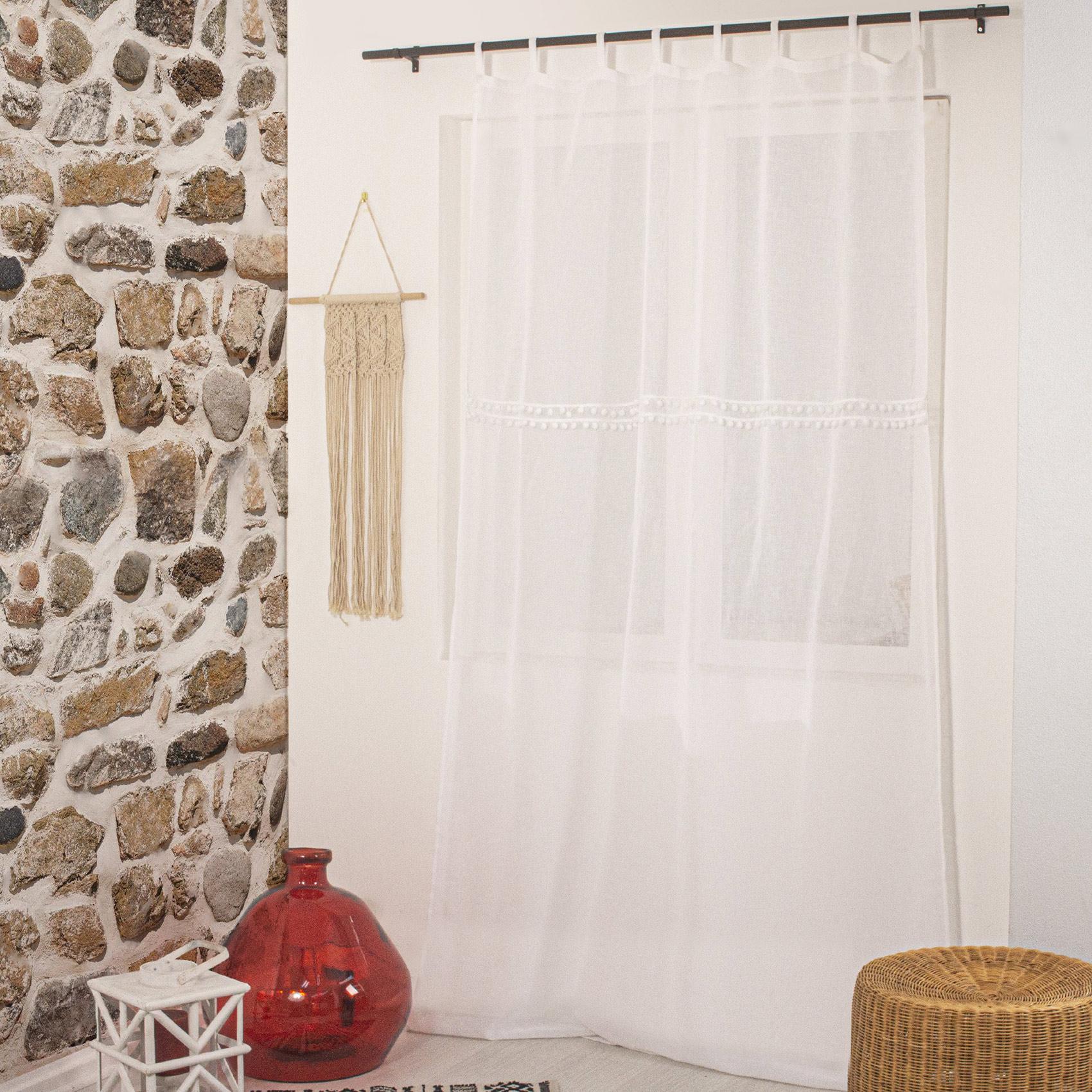 Voilage à passants effet lin et pompons polyester blanc 240x140