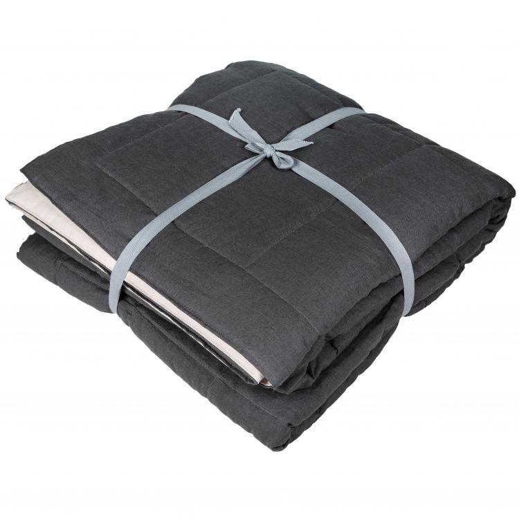Edredon en lin coton gris 180x250