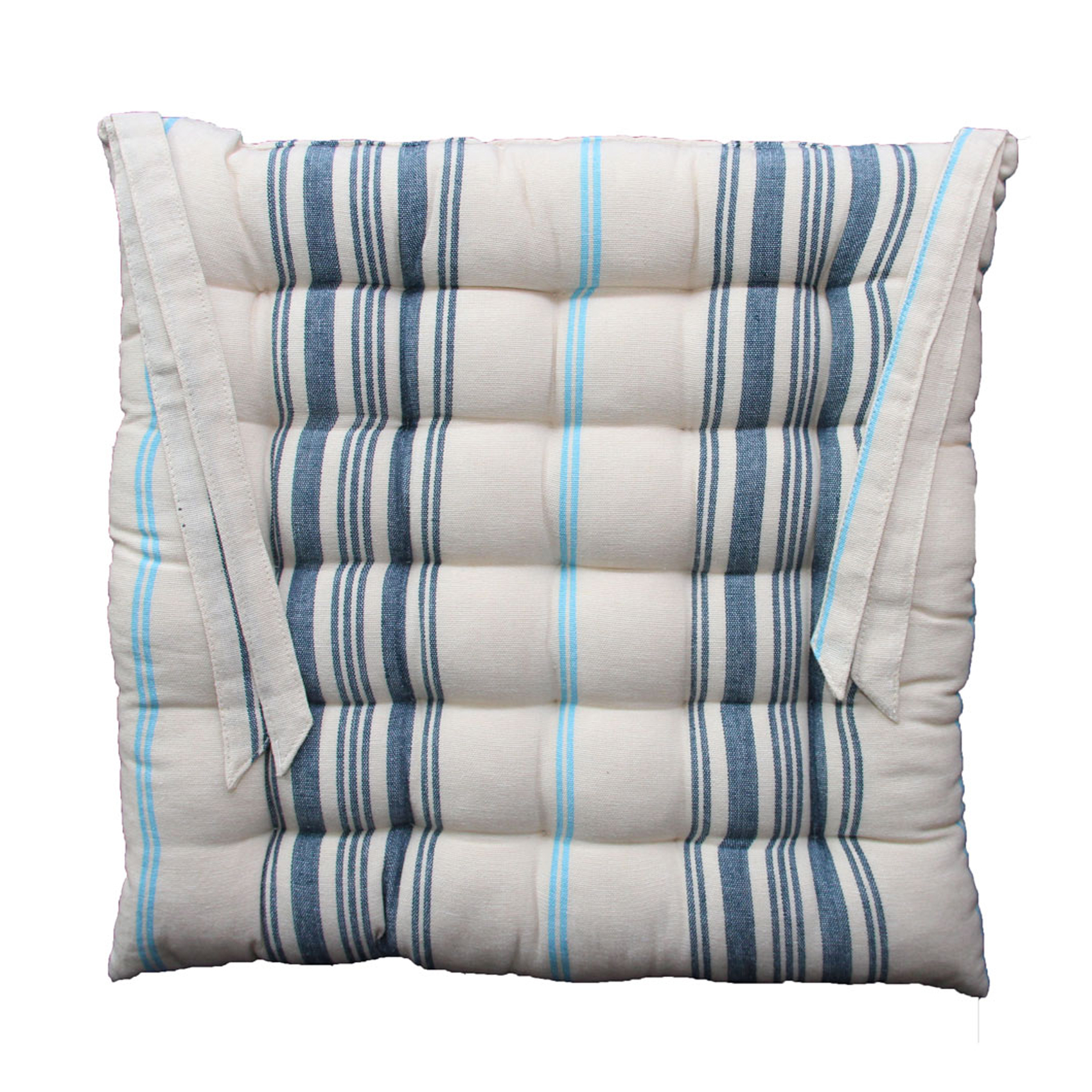 Galette de chaise en 100% coton bleu 40x40