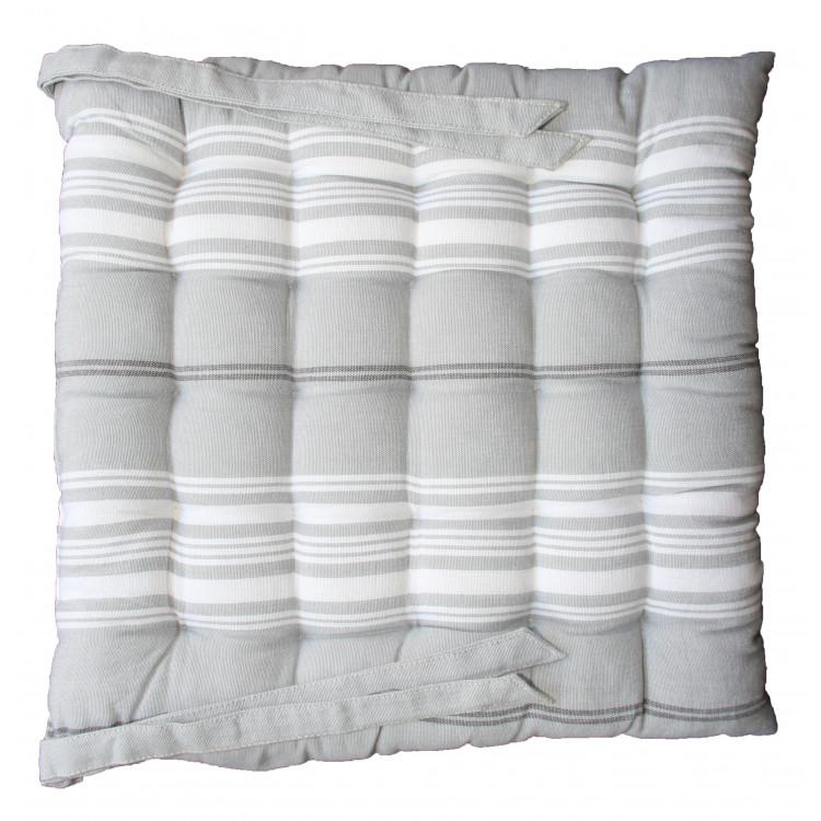 Galette de chaise en 100% coton gris 40