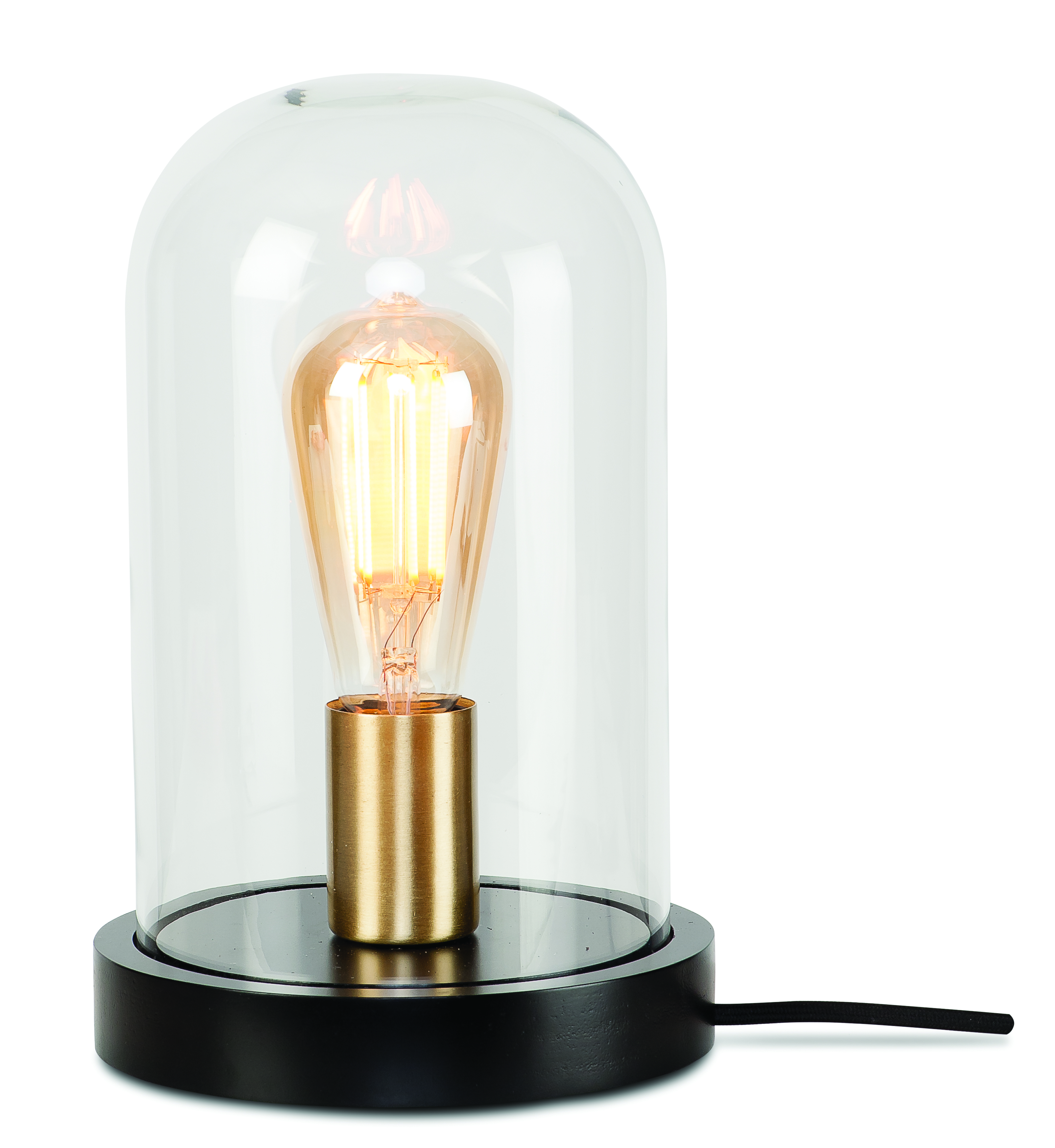 Lampe de table cloche en verre H29cm