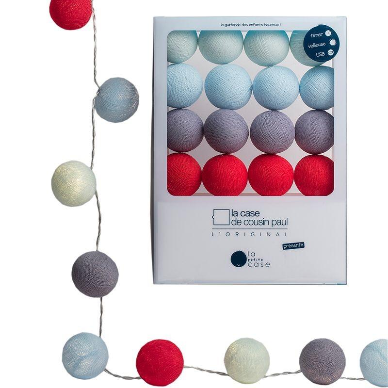 Guirlande veilleuse 16 boules LED en coffret bleu