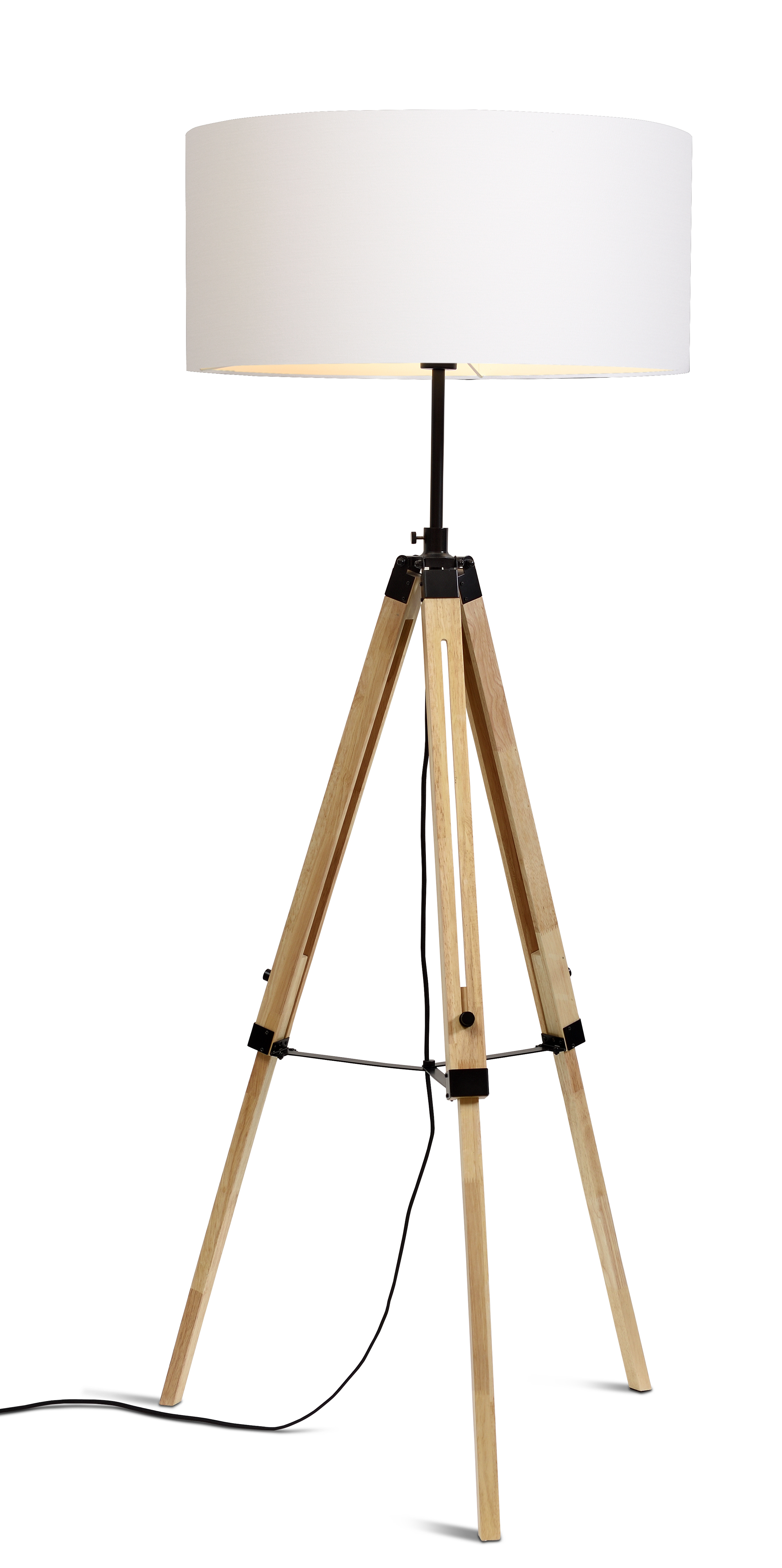 Lampadaire trépied et abat-jour H165cm
