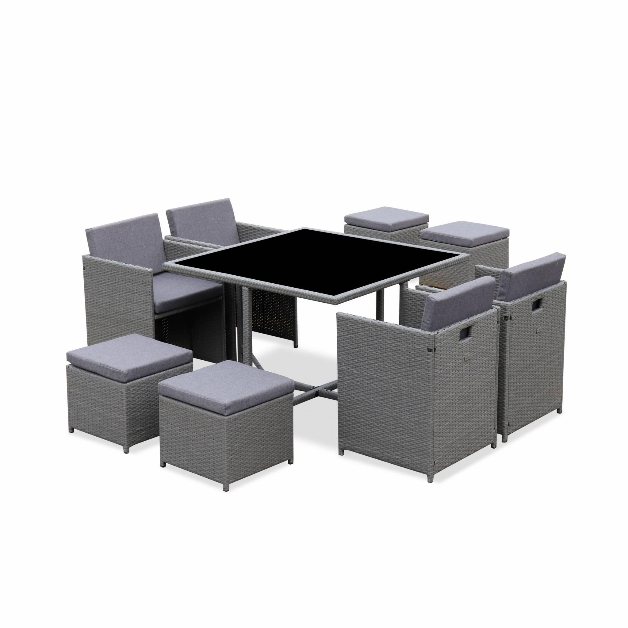 Ensemble de jardin 4-8 places gris avec coussins gris chiné