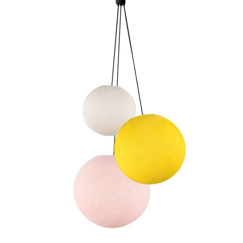 Suspension 3 globes ecru - jaune - rose poudré