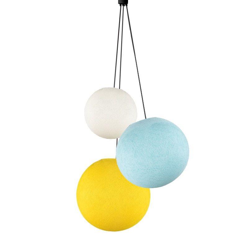 Suspension 3 globes ivoire - bleu ciel - jaune