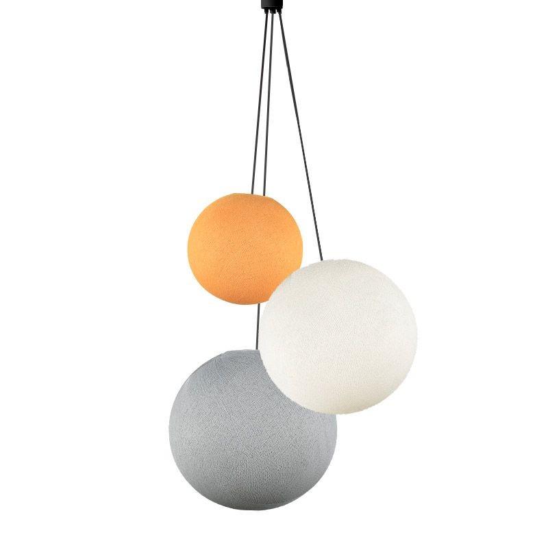 Suspension 3 globes orange clair - ivoire - perle