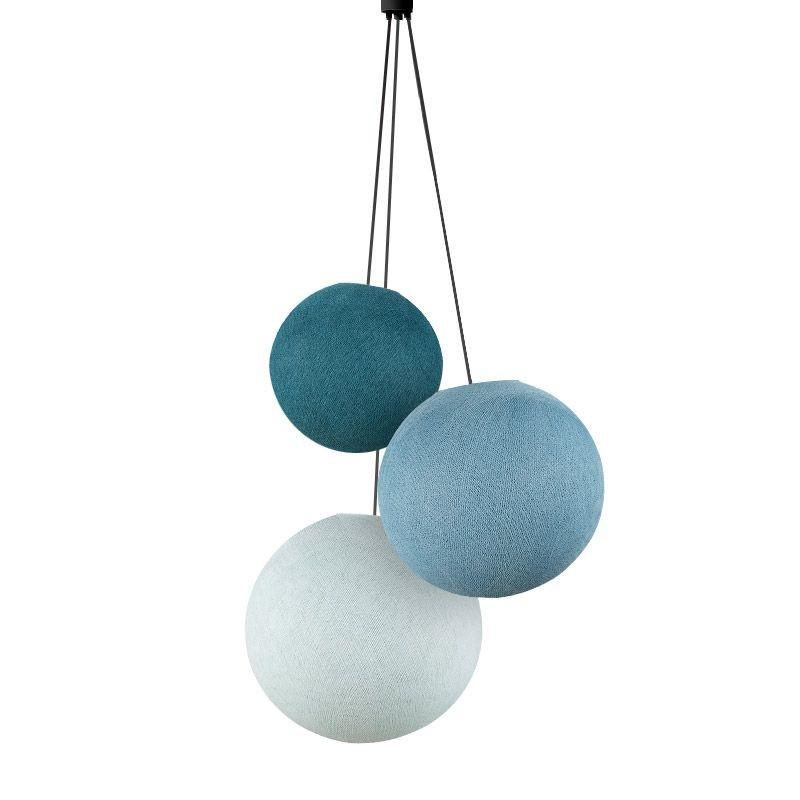 Suspension 3 globes bleu canard-denim-azur