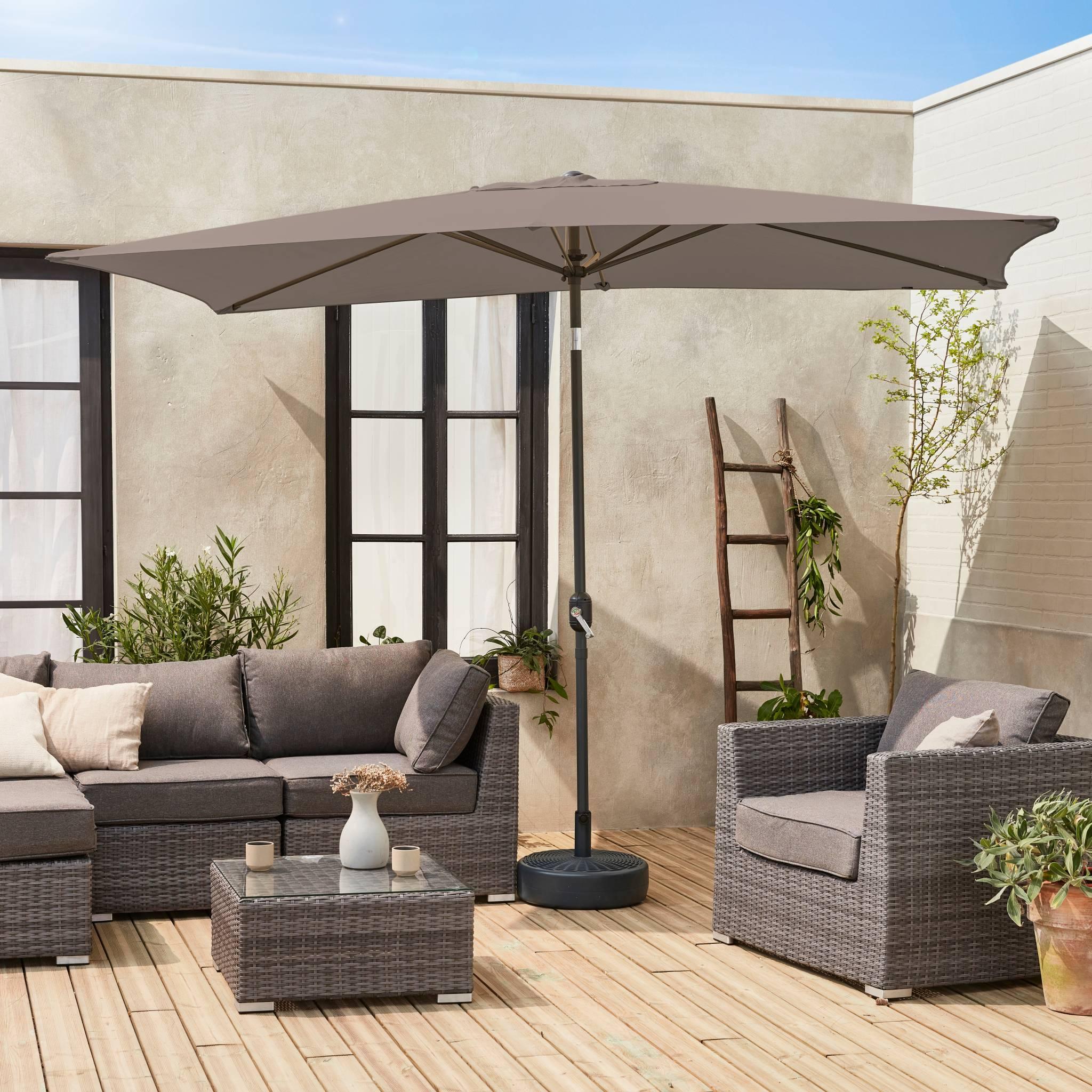 Parasol droit rectangulaire 2x3m taupe mât central aluminium