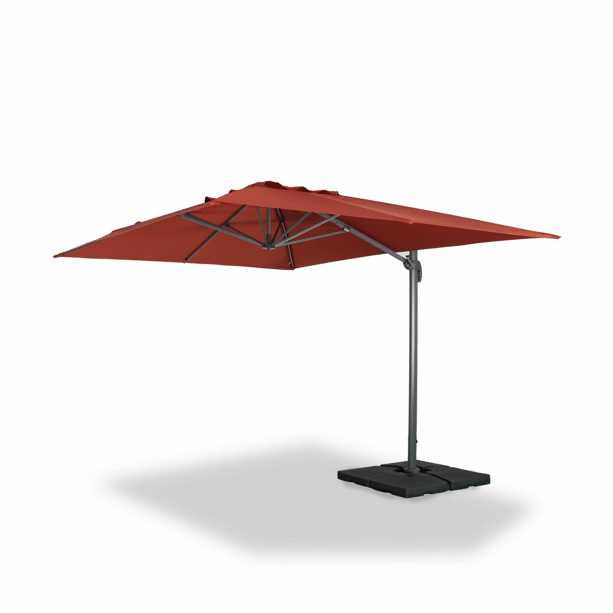 Parasol déporté rectangulaire 3x4m excentré inclinable terracotta