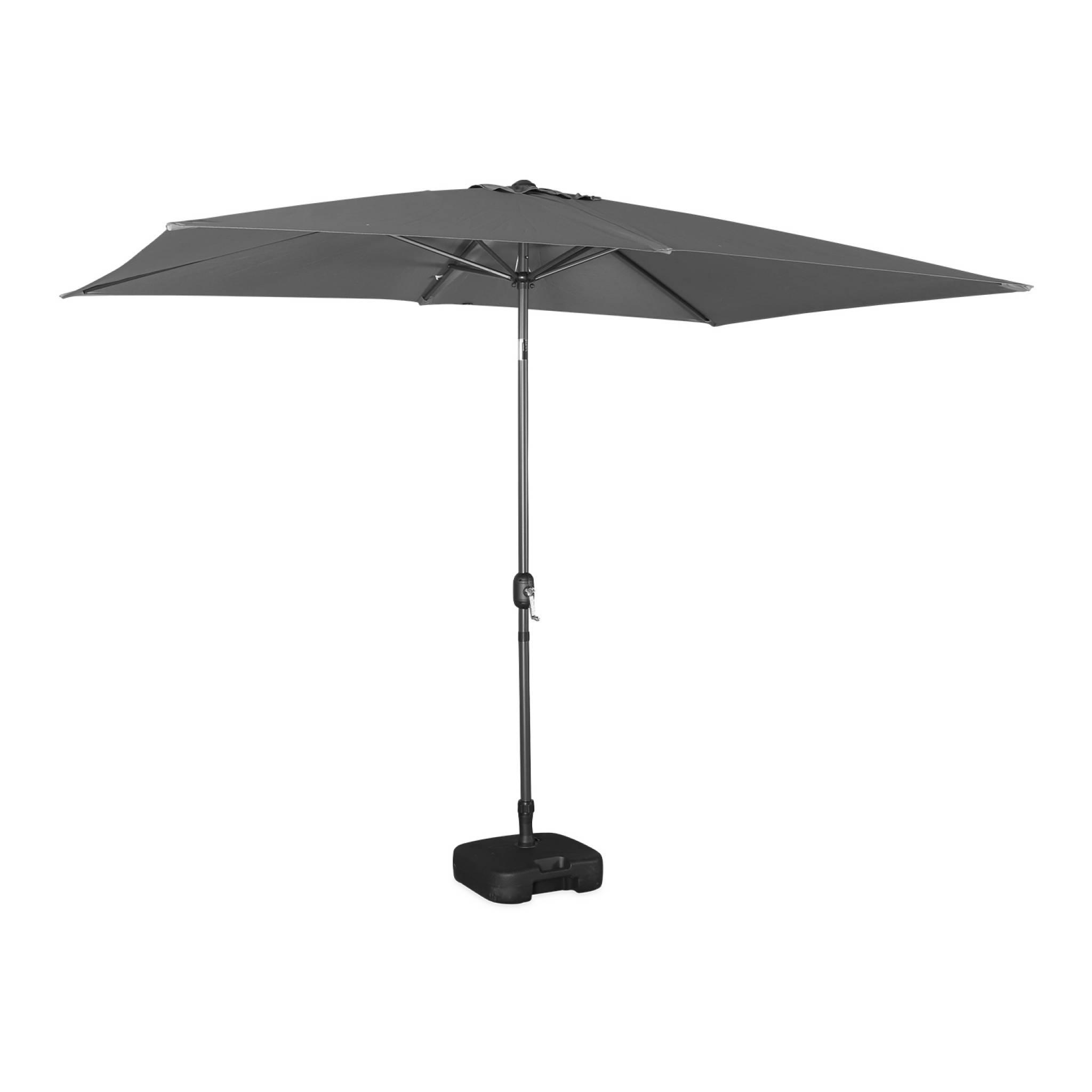 Parasol droit rectangulaire 2x3m gris mât central aluminium