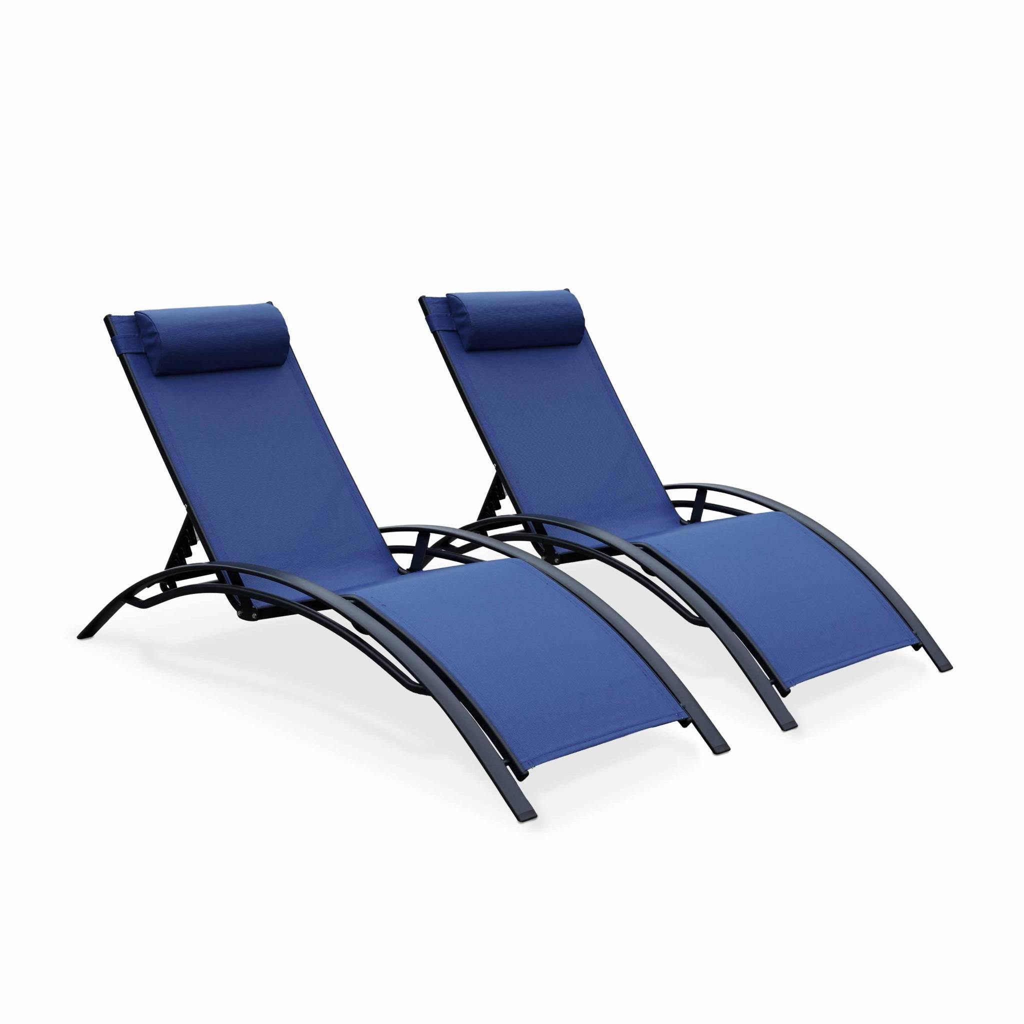 Lot de 2 de bains de soleil en aluminium et textilène bleu nuit