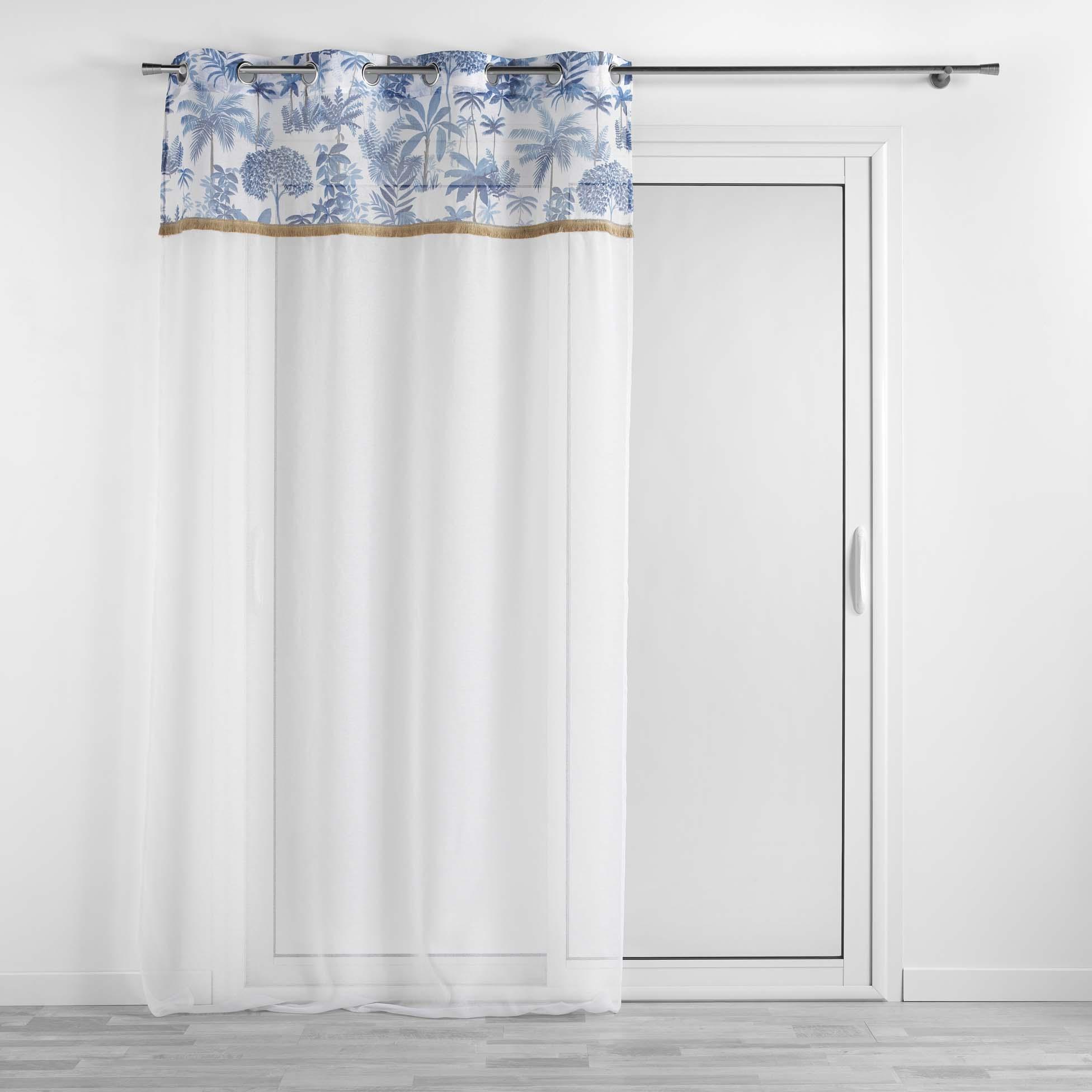 Voilage à œillets top imprimé amazonia polyester bleu 240x140