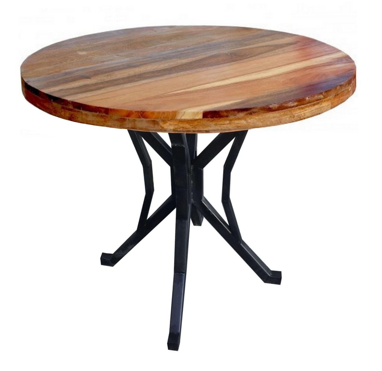 maison du monde Table repas ronde bois massif recyclé marron