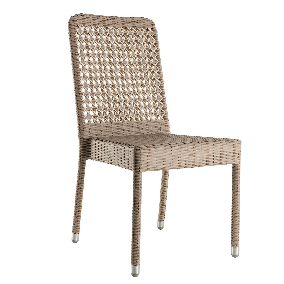 Chaise de jardin sans coussin en résine gris