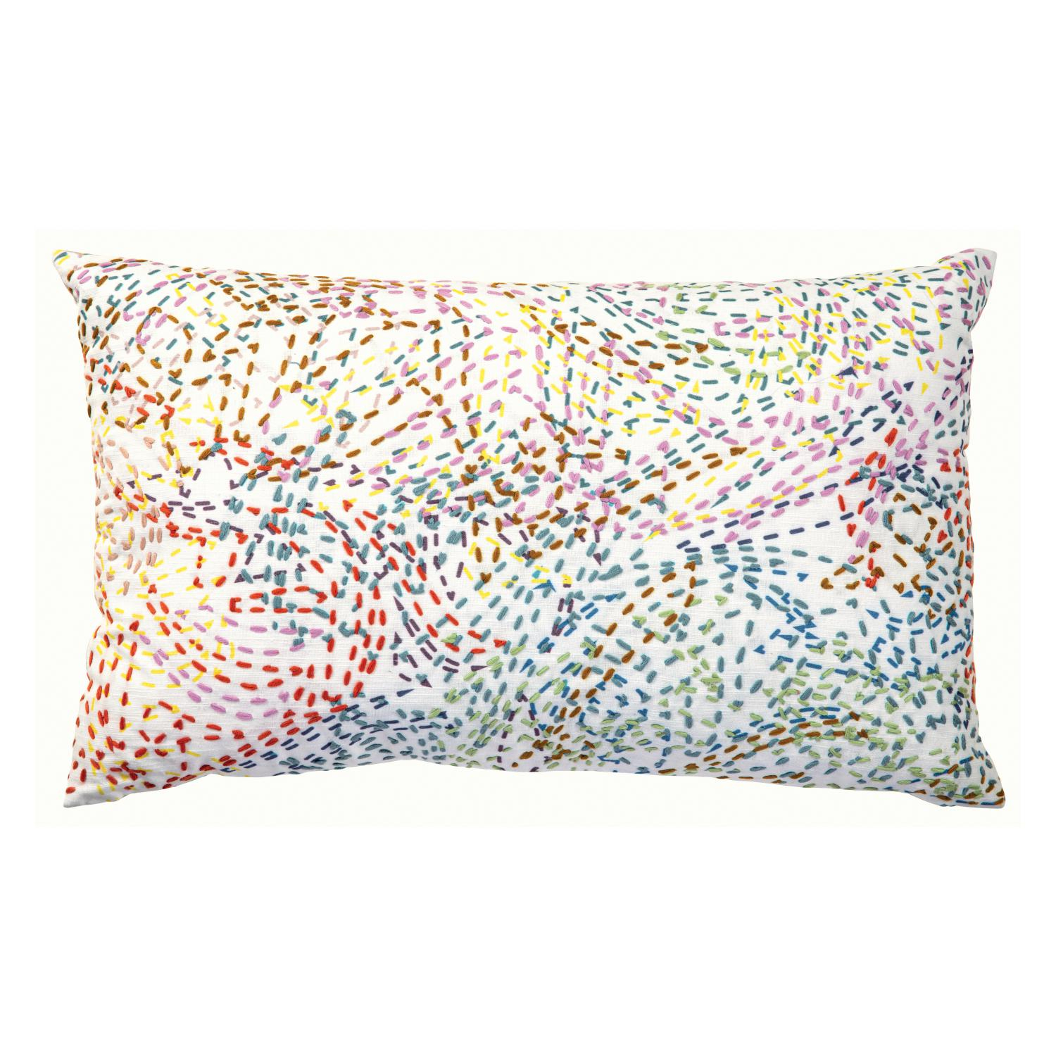 Coussin  brodé en coton multico 40 x 65 (photo)