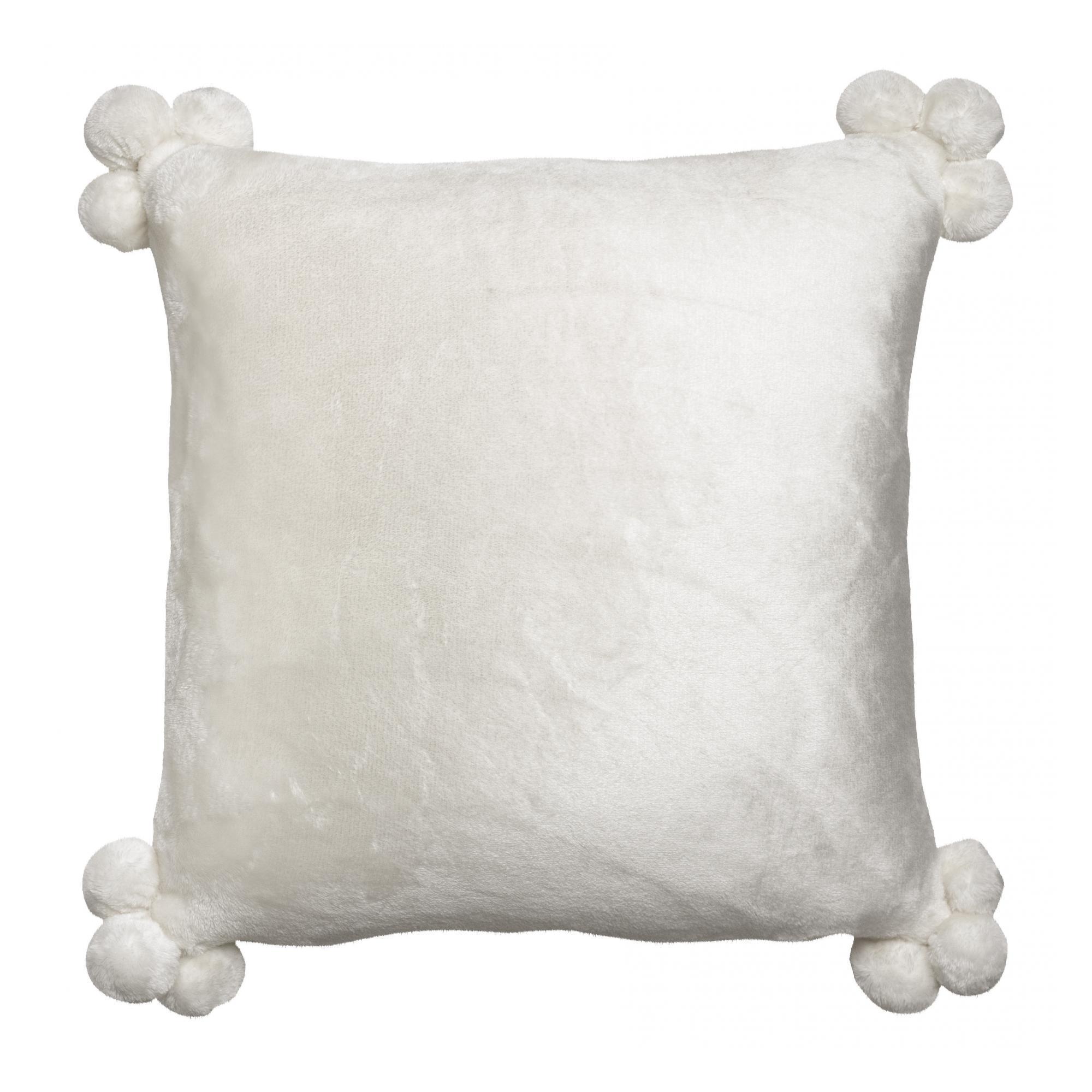 Coussin  pompons en polyester neige 45 x 45