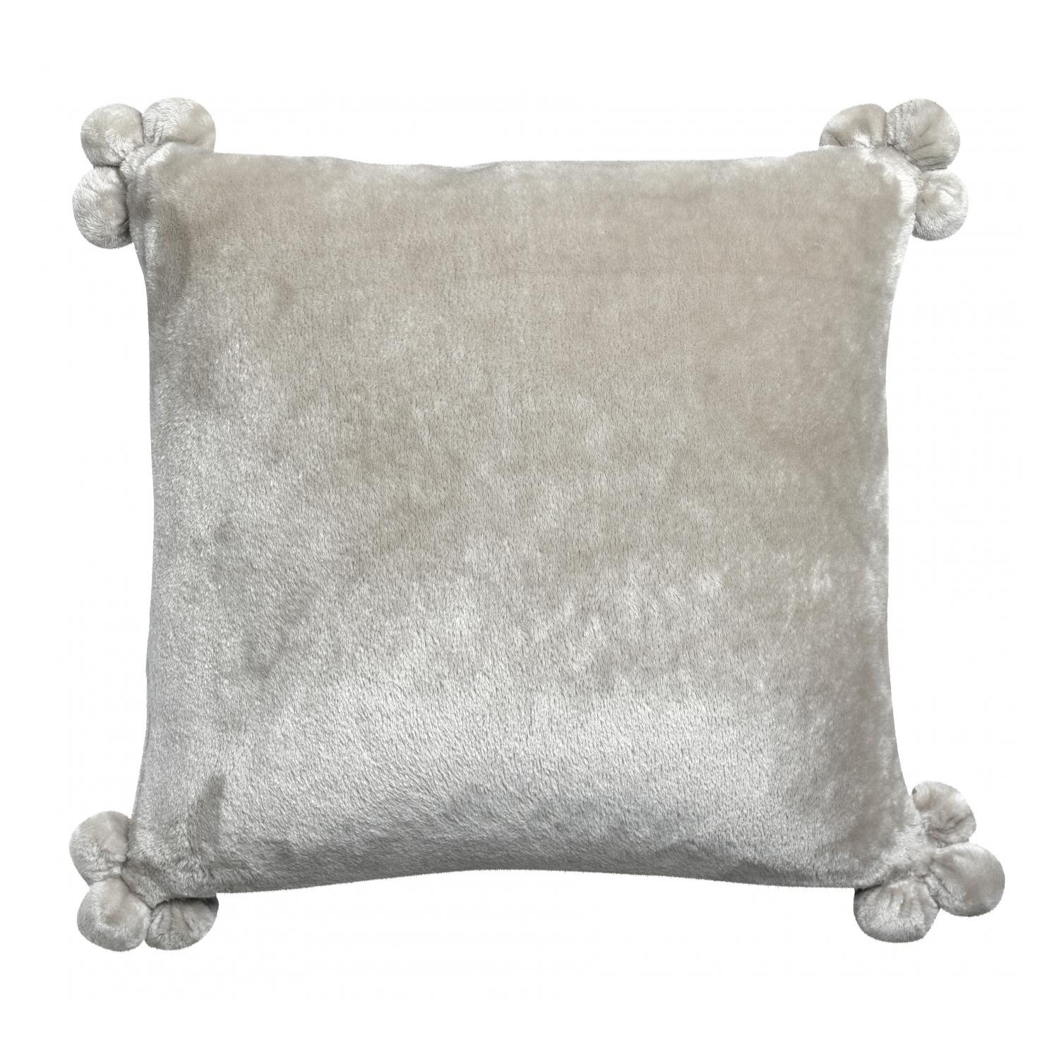 Coussin  pompons en polyester perle 45 x 45