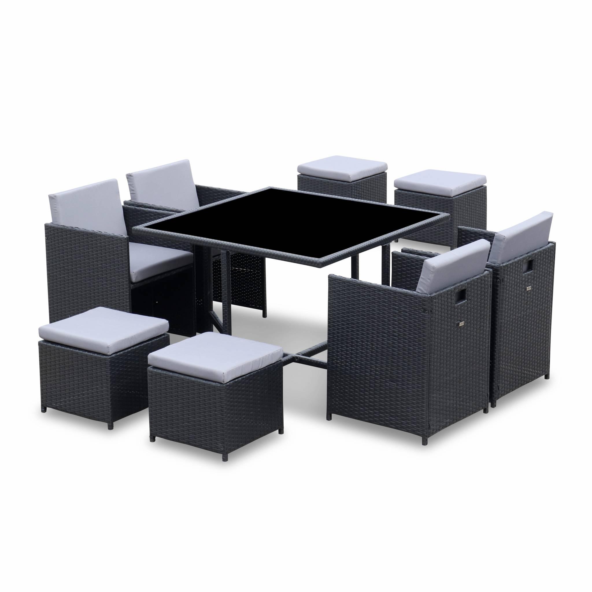 Ensemble de jardin 4-8 places noir Coussins gris table