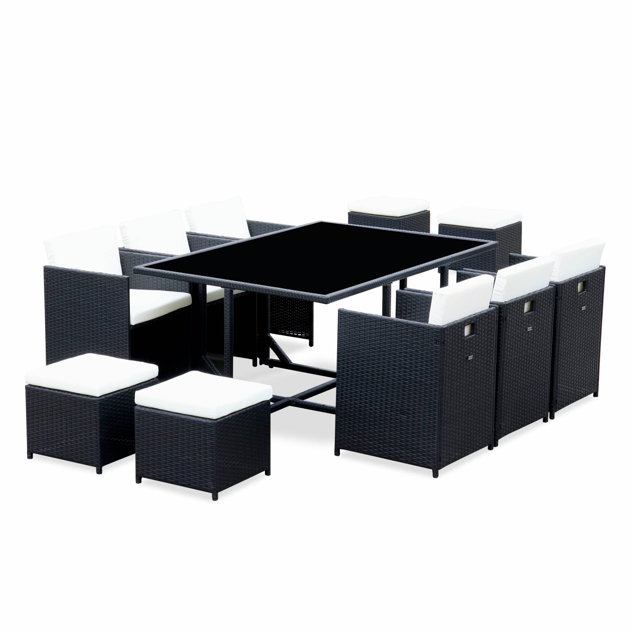 Ensemble de jardin noir table en résine tressée 6 à 10 places