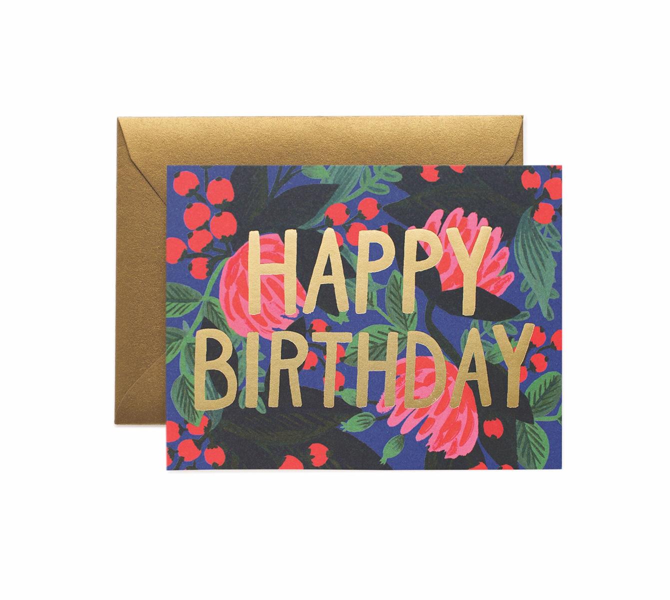 Carte double floral foil birthday