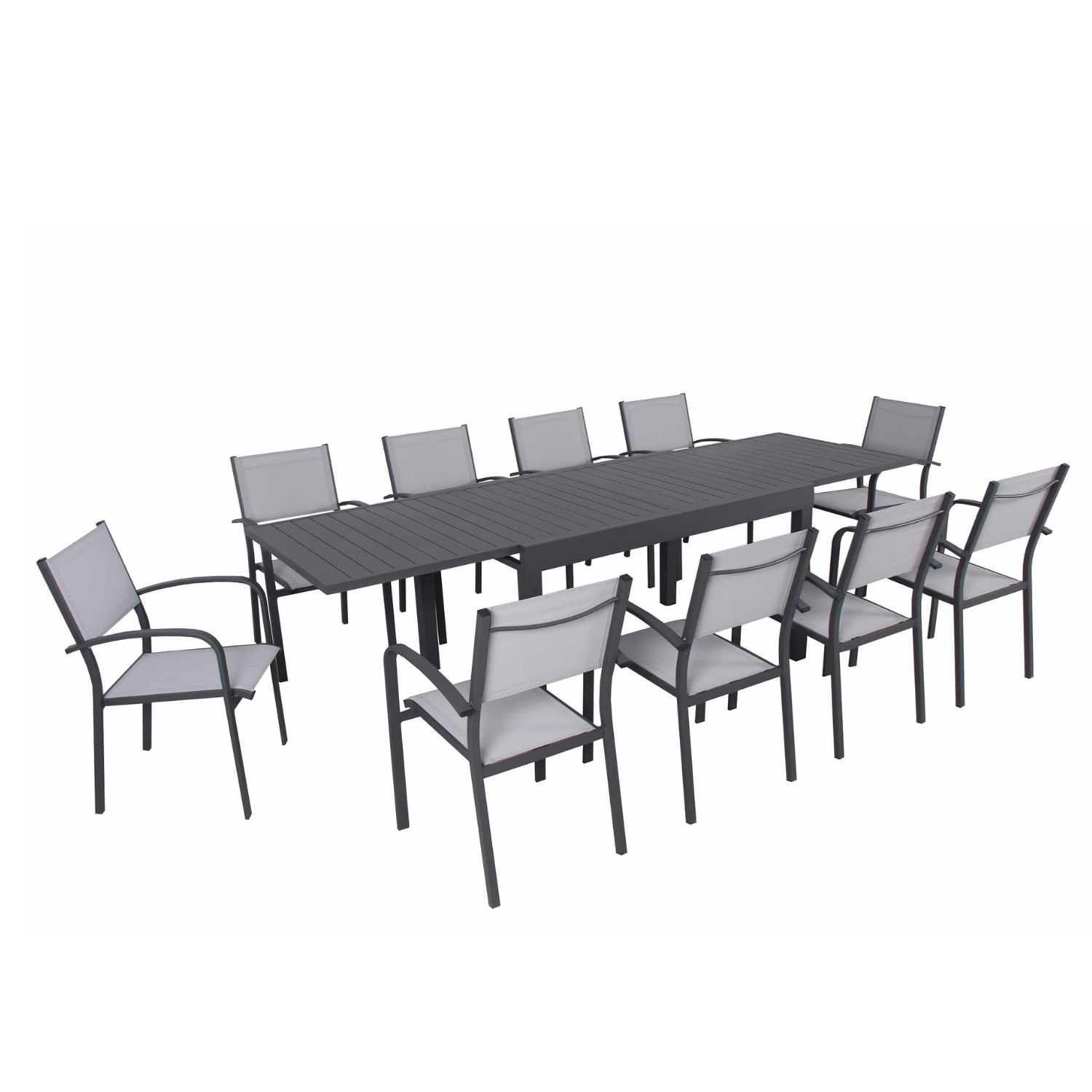 Ensemble de jardin 10 places extensible en aluminium anthracite gris