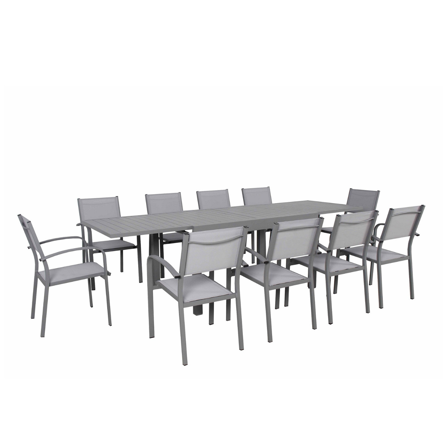 Ensemble de jardin 10 places extensible en aluminium gris