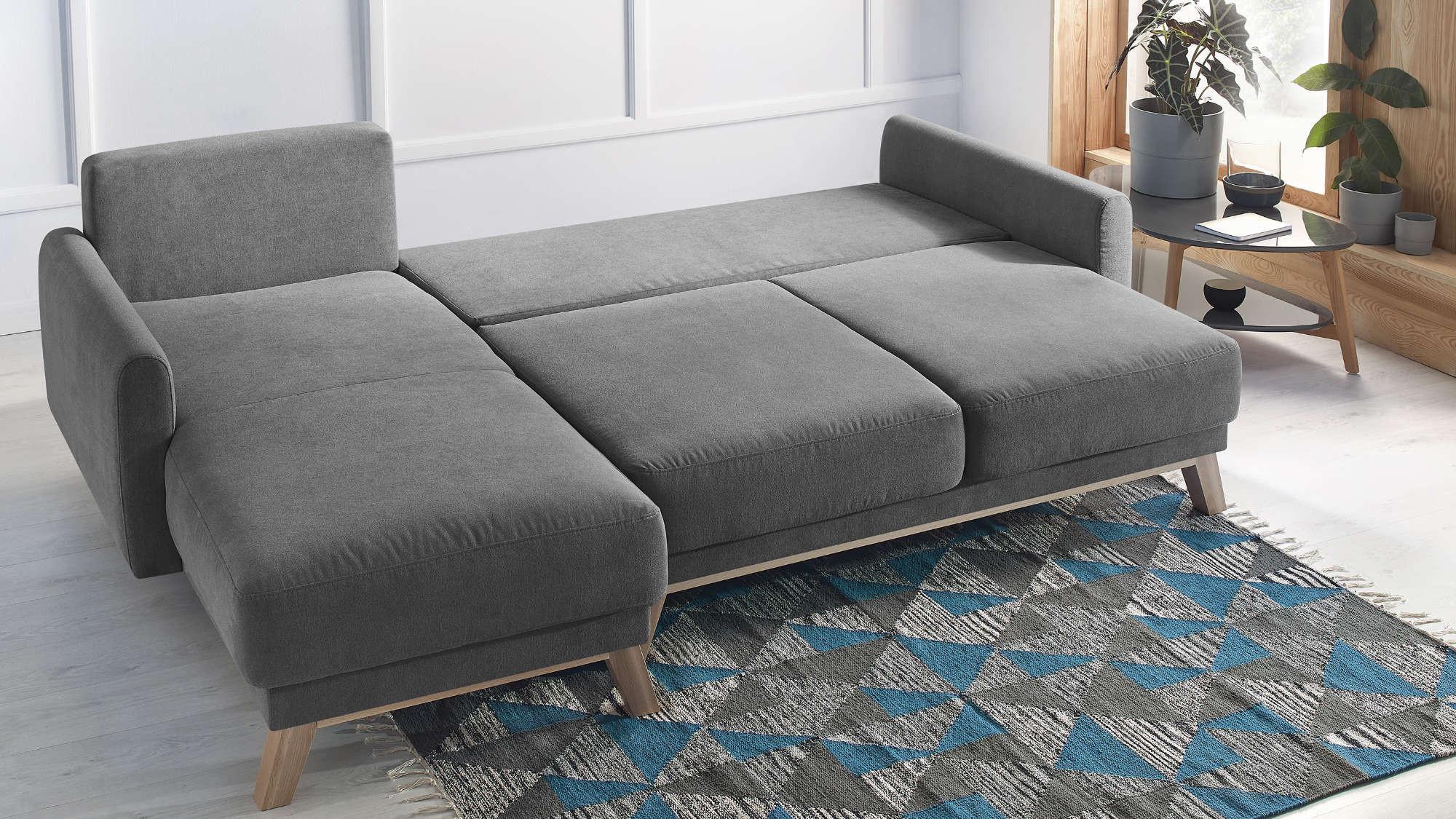 Canapé d'angle gauche convertible 4 places Tissu Gris foncé