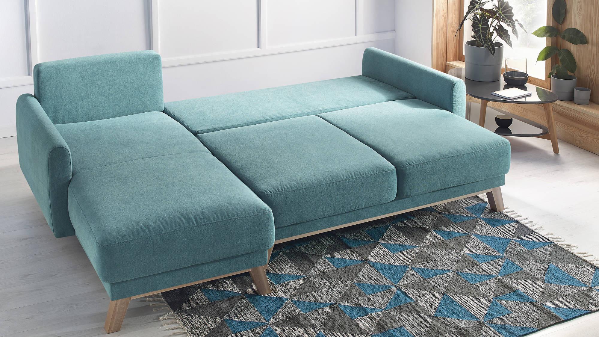 Canapé d'angle gauche convertible 4 places Tissu Bleu turquoise