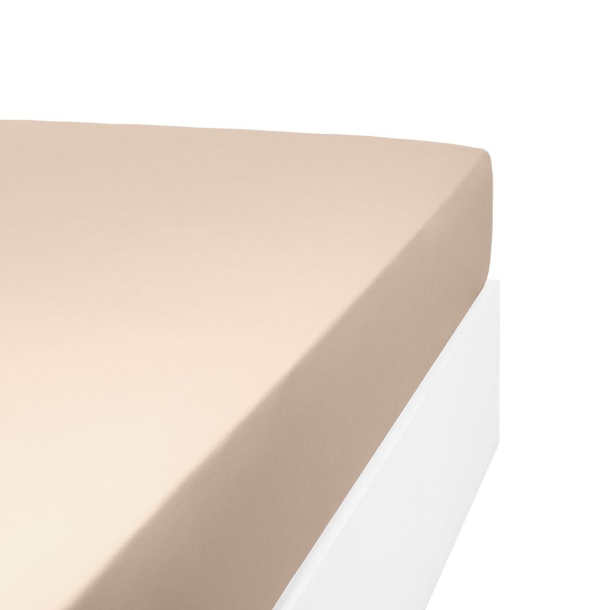 Drap housse uni 200 fils en de coton beige foncé 140x200 cm