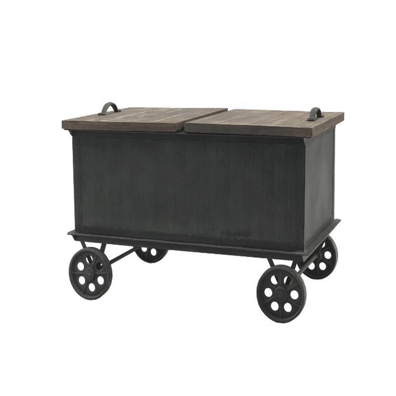 Table basse coffre à roulettes style industriel en fer patiné