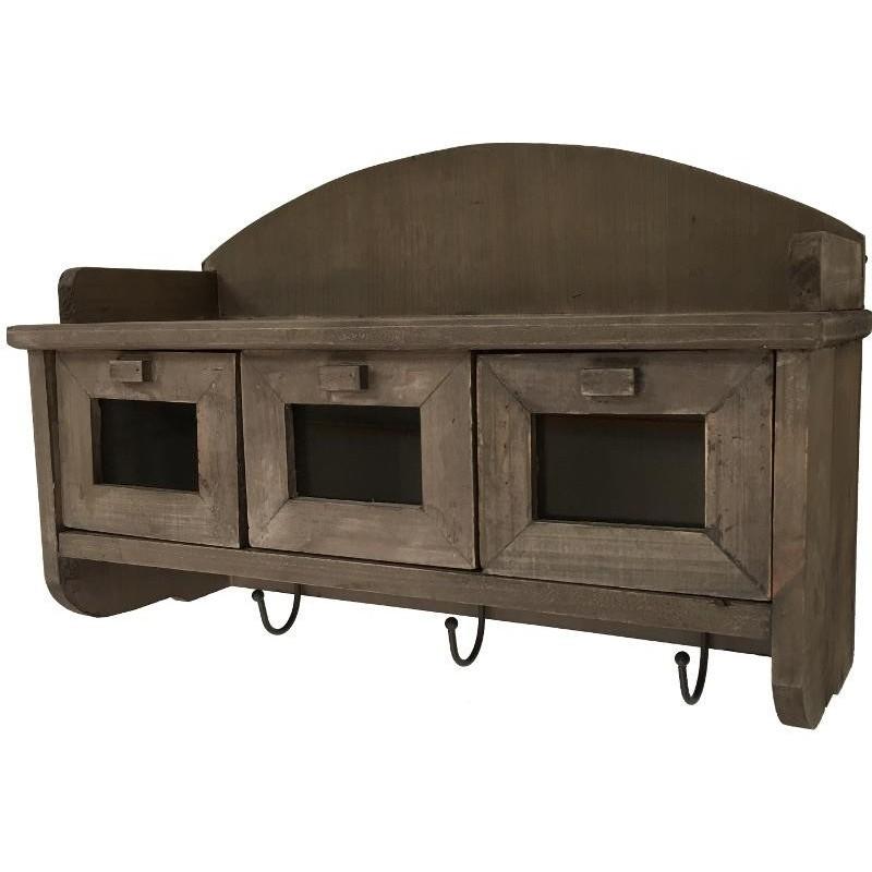 Etagère porte-épices en bois et tiroirs vitrés