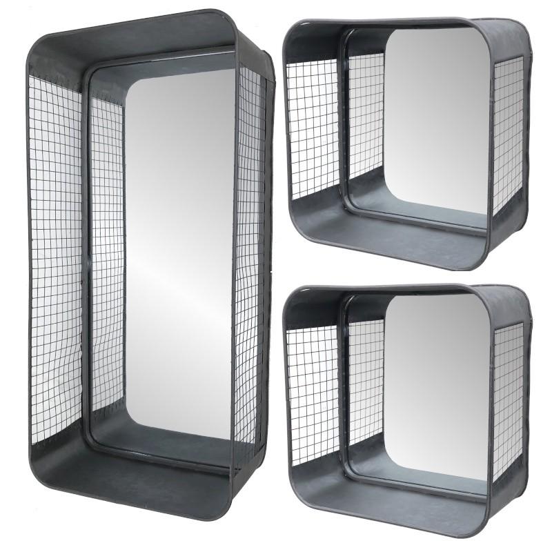Lot de 3 miroirs étagère en zinc industrielle