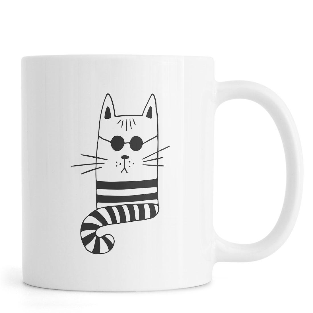 Mug en céramique en Blanc & Noir