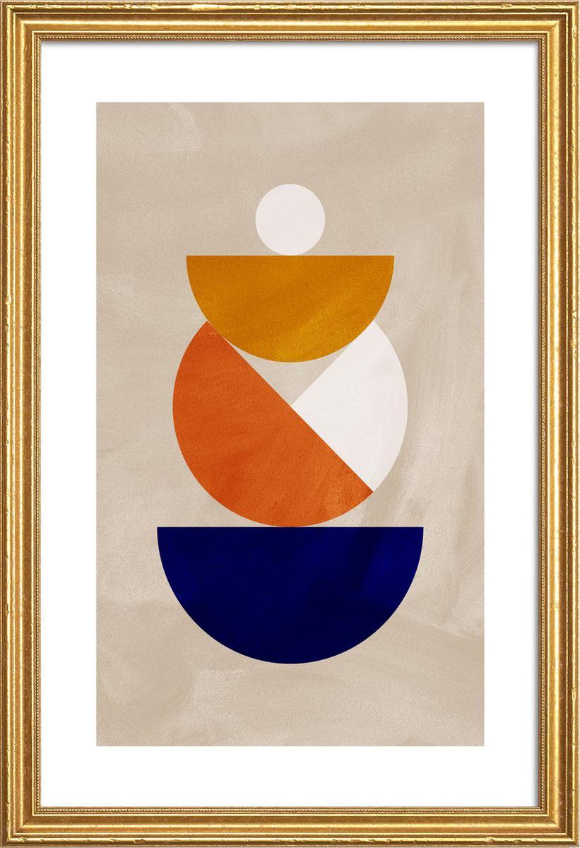 Affiche avec cadre en bois (Doré) en Blanc ivoire & /60x90