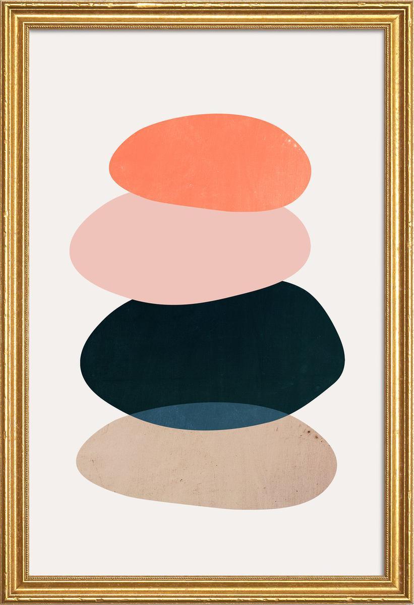Affiche avec cadre en bois (Doré) en Multicolore/60x90