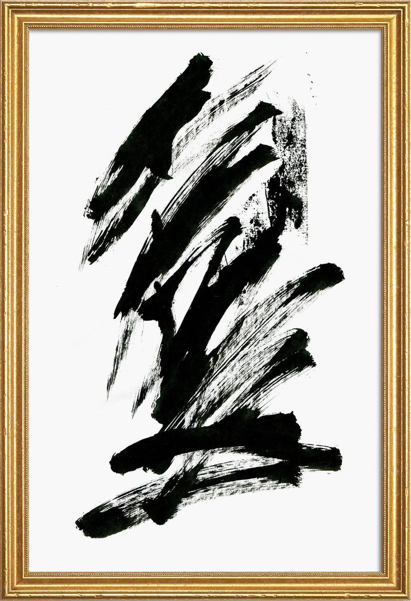 Affiche avec cadre en bois (Doré) en Blanc & Noir/60x90
