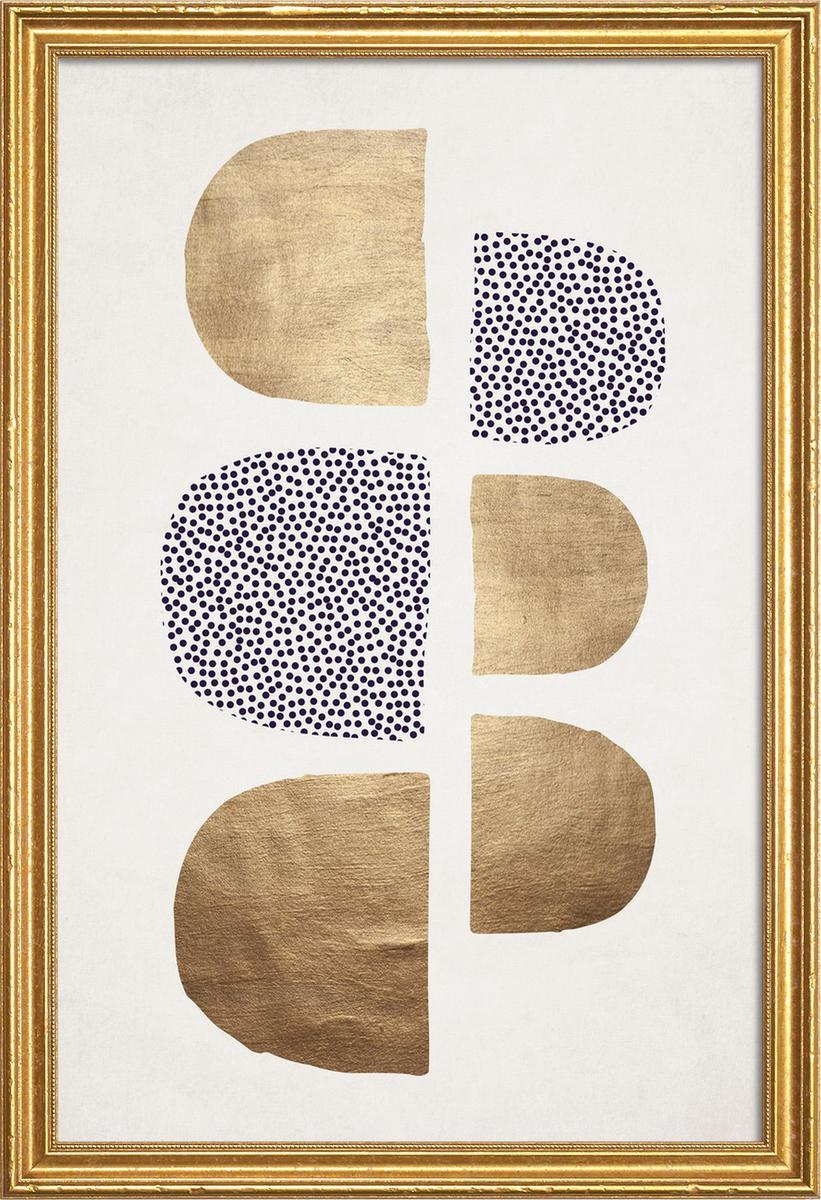 Affiche avec cadre en bois (Doré) en Blanc ivoire/30x45