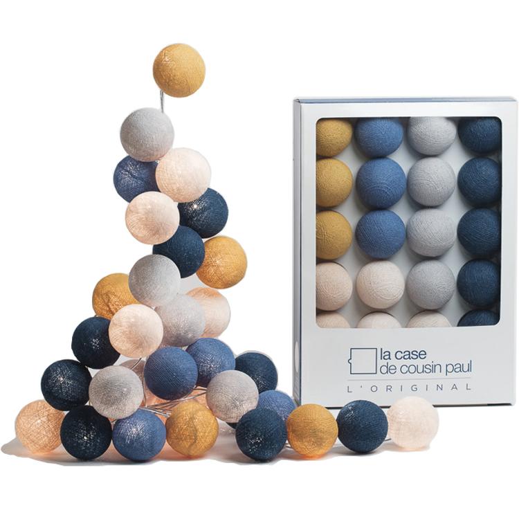 Guirlande lumineuse 20 boules tissées