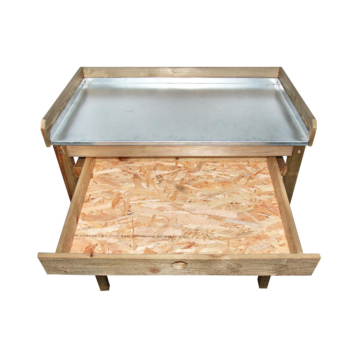 Table de rempotage en pin traité
