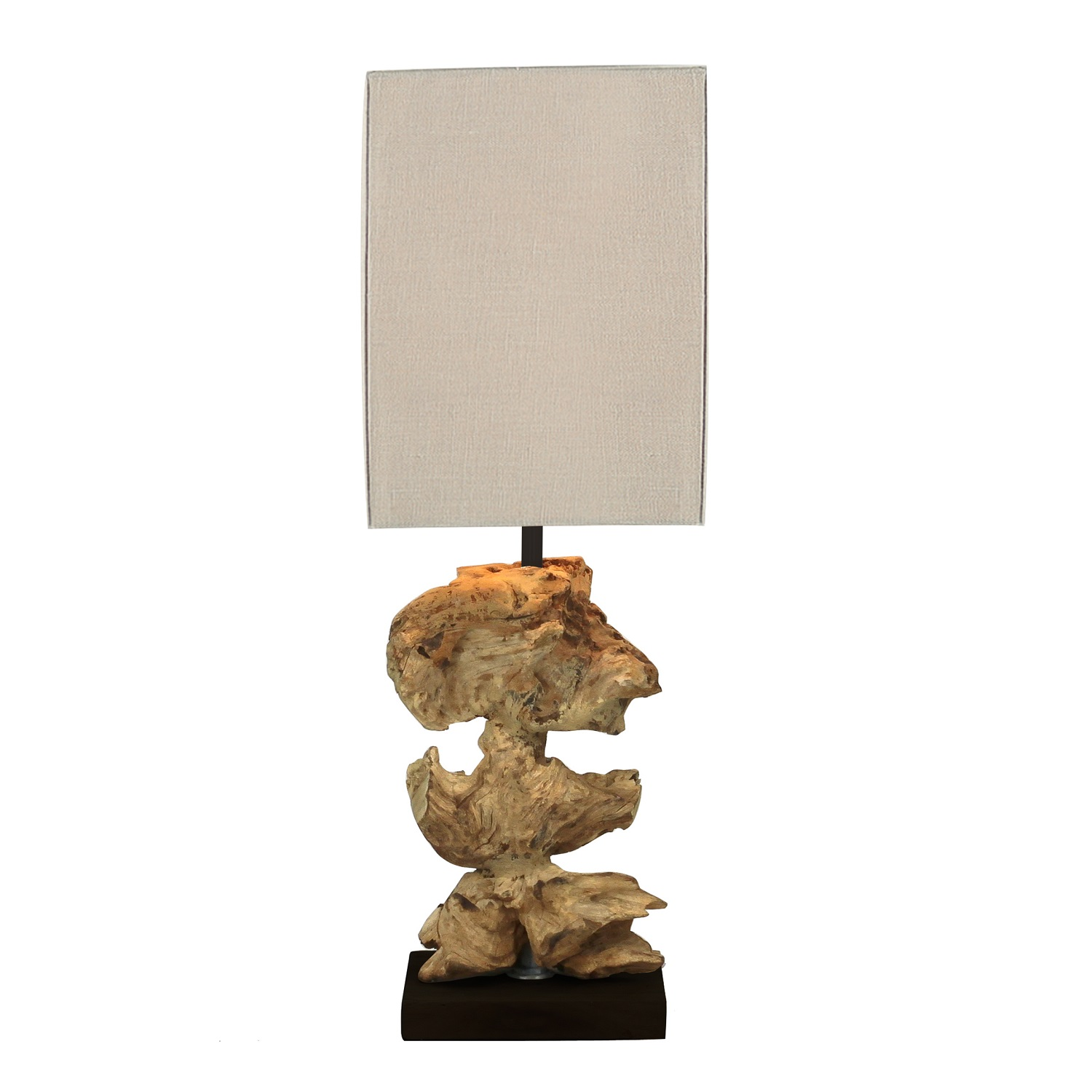 Lampe à poser en bois blanchi 15x15x45cm