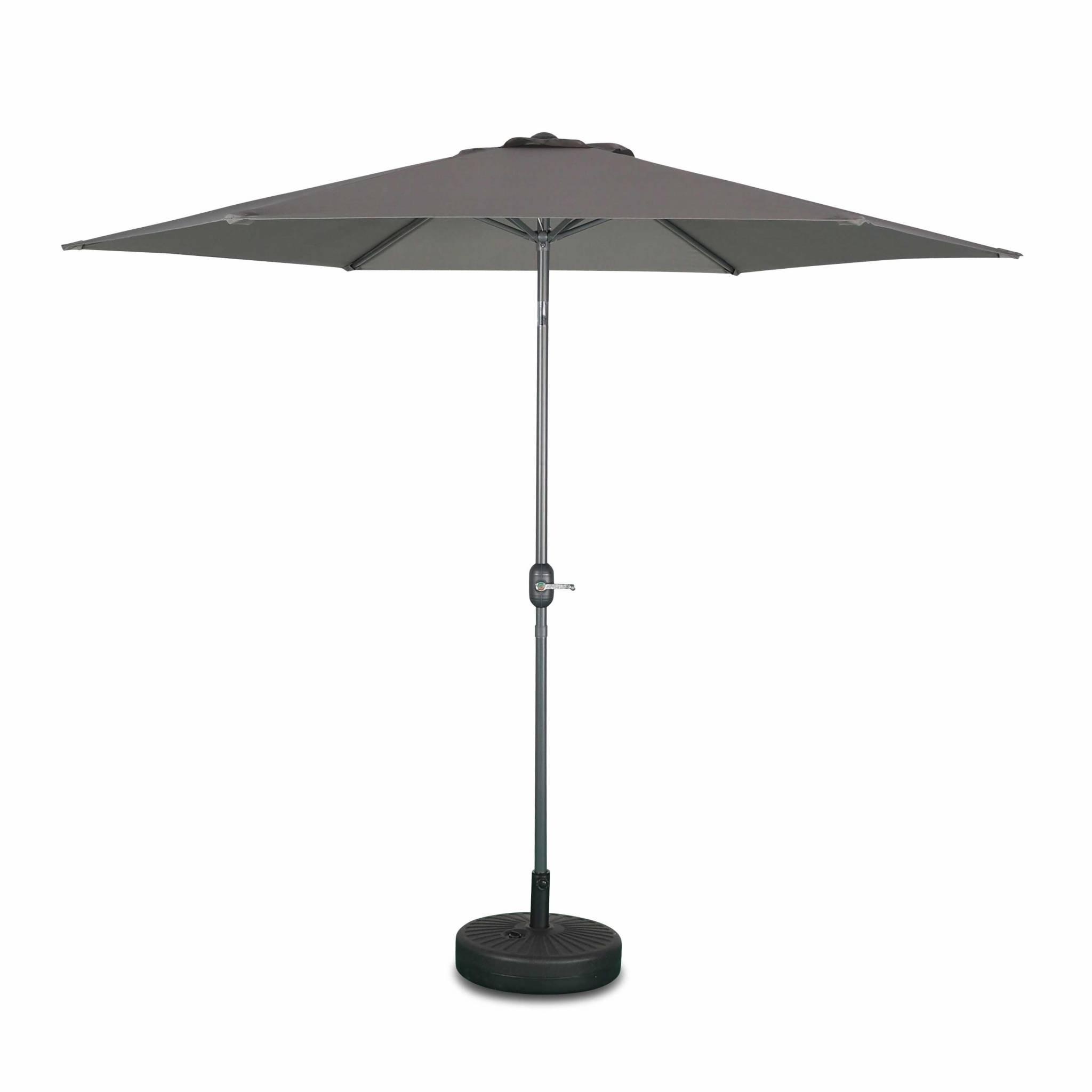Parasol droit touquet rond ⌀300cm gris mât central aluminium