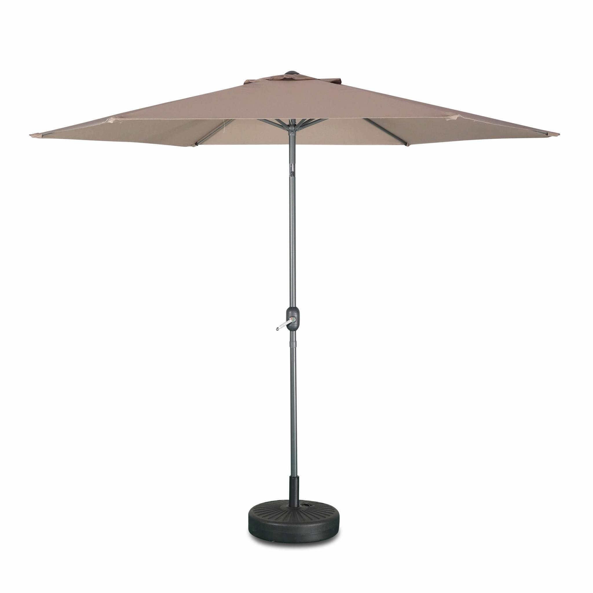 Parasol droit touquet rond ⌀300cm taupe mât central aluminium