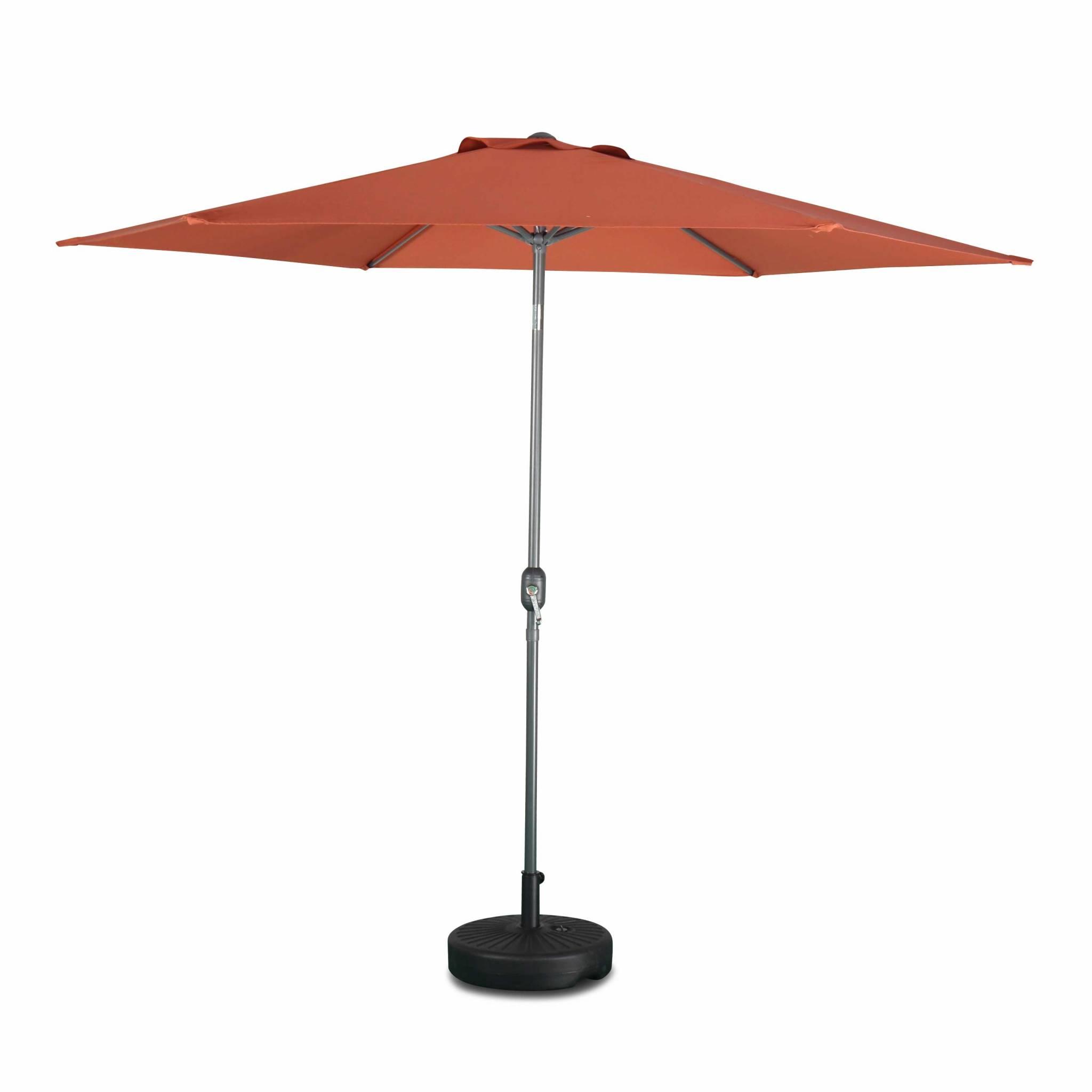 Parasol droit touquet rond ⌀300cm terracotta mât central aluminium