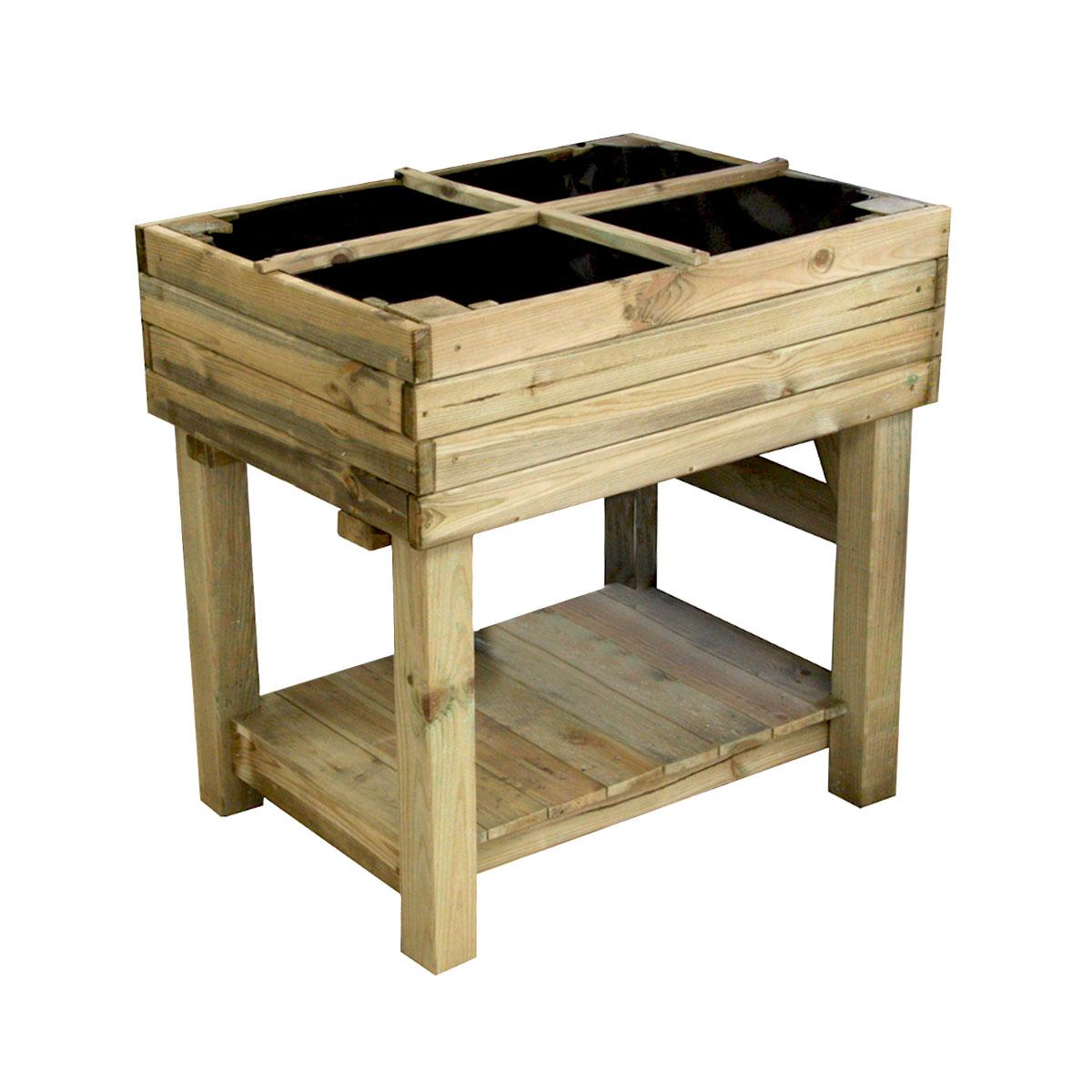Potager sur pieds en bois traité 1 bac 124 litres
