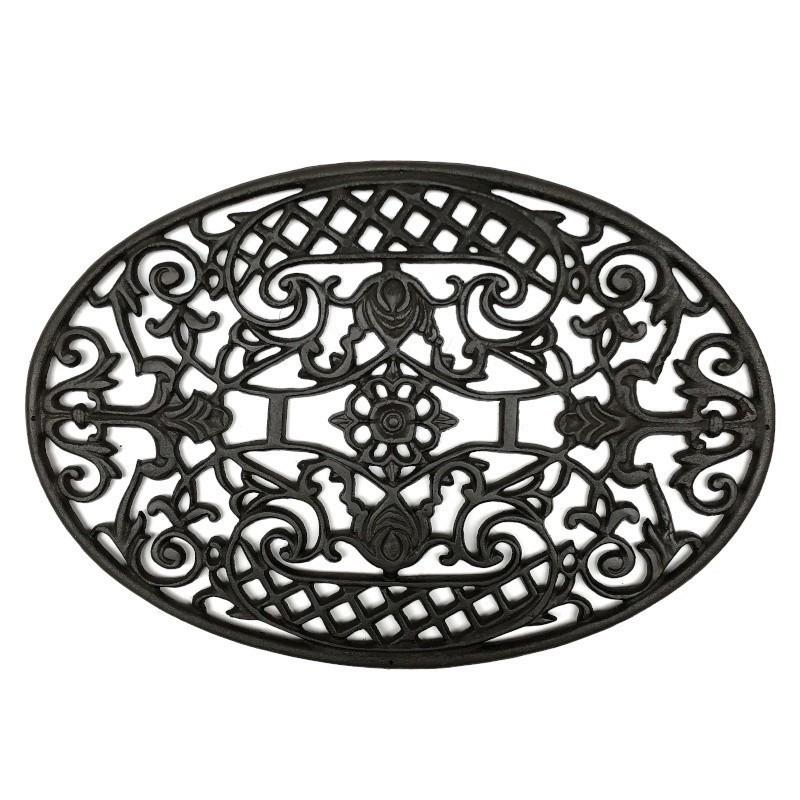 Gratte pied d'entrée paillasson tapis en fonte ovale marron 70x48