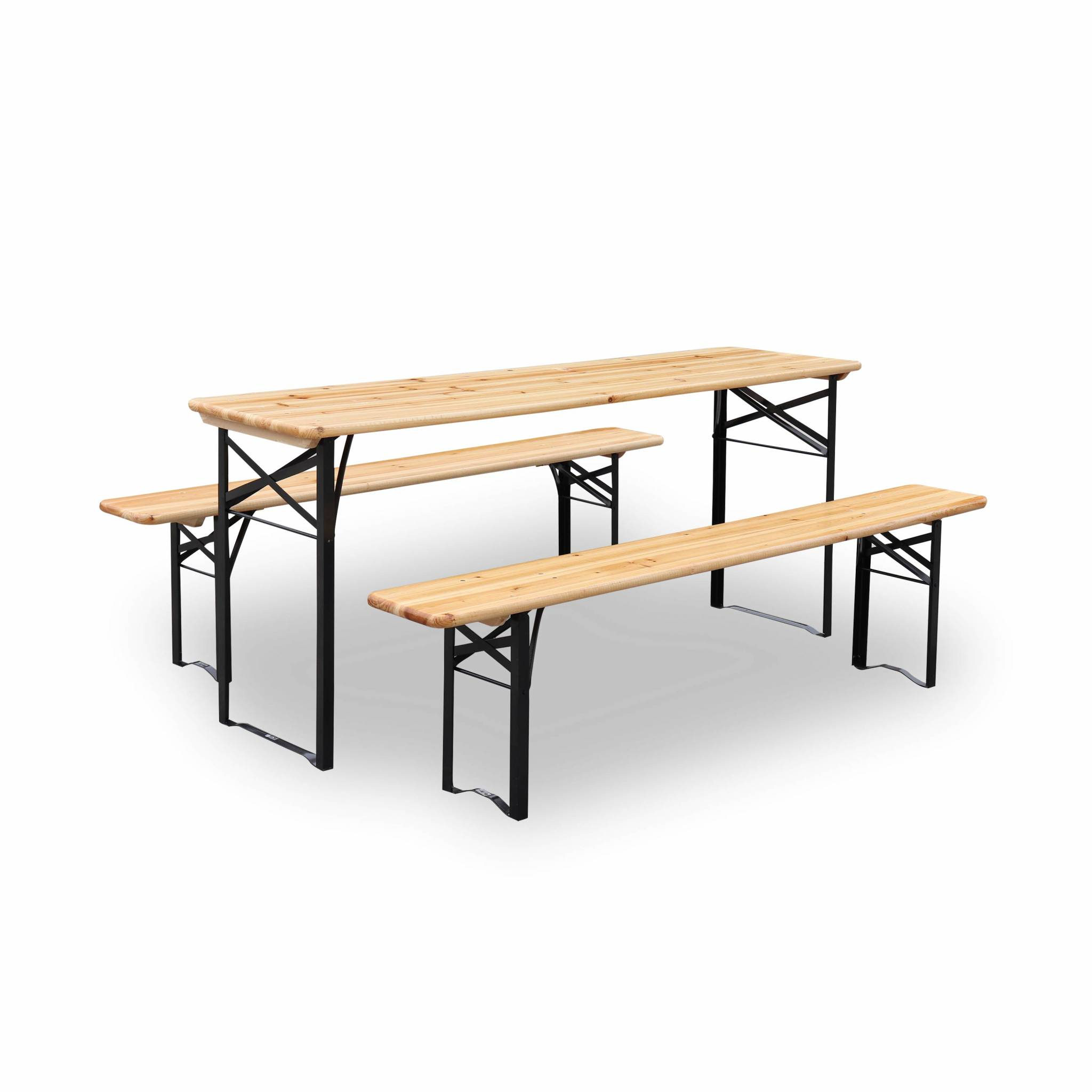 Table en bois 180cm avec 2 bancs esprit brasserie