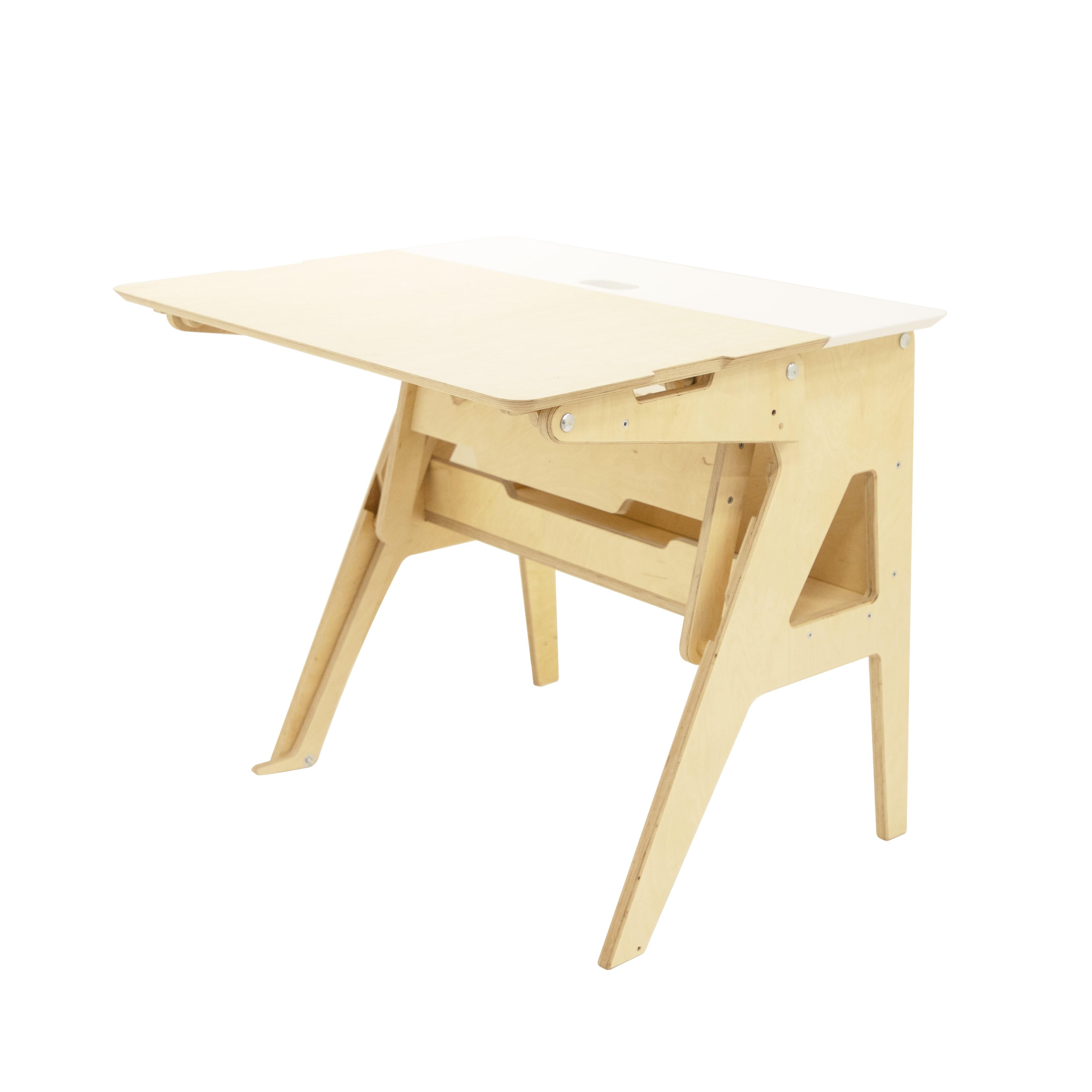 Bureau ergonomique assis-debout blanc L90cm