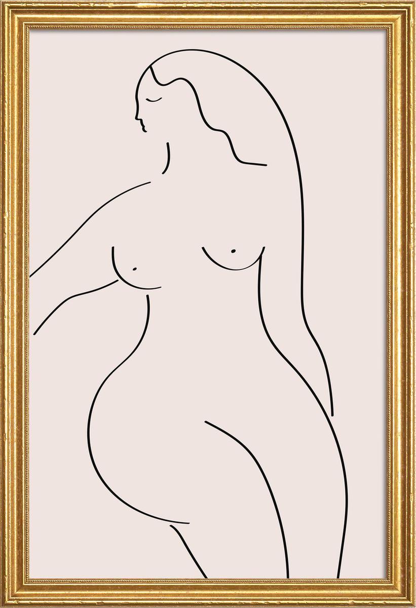 Affiche avec cadre en bois (Doré) en Noir & Rose/60x90