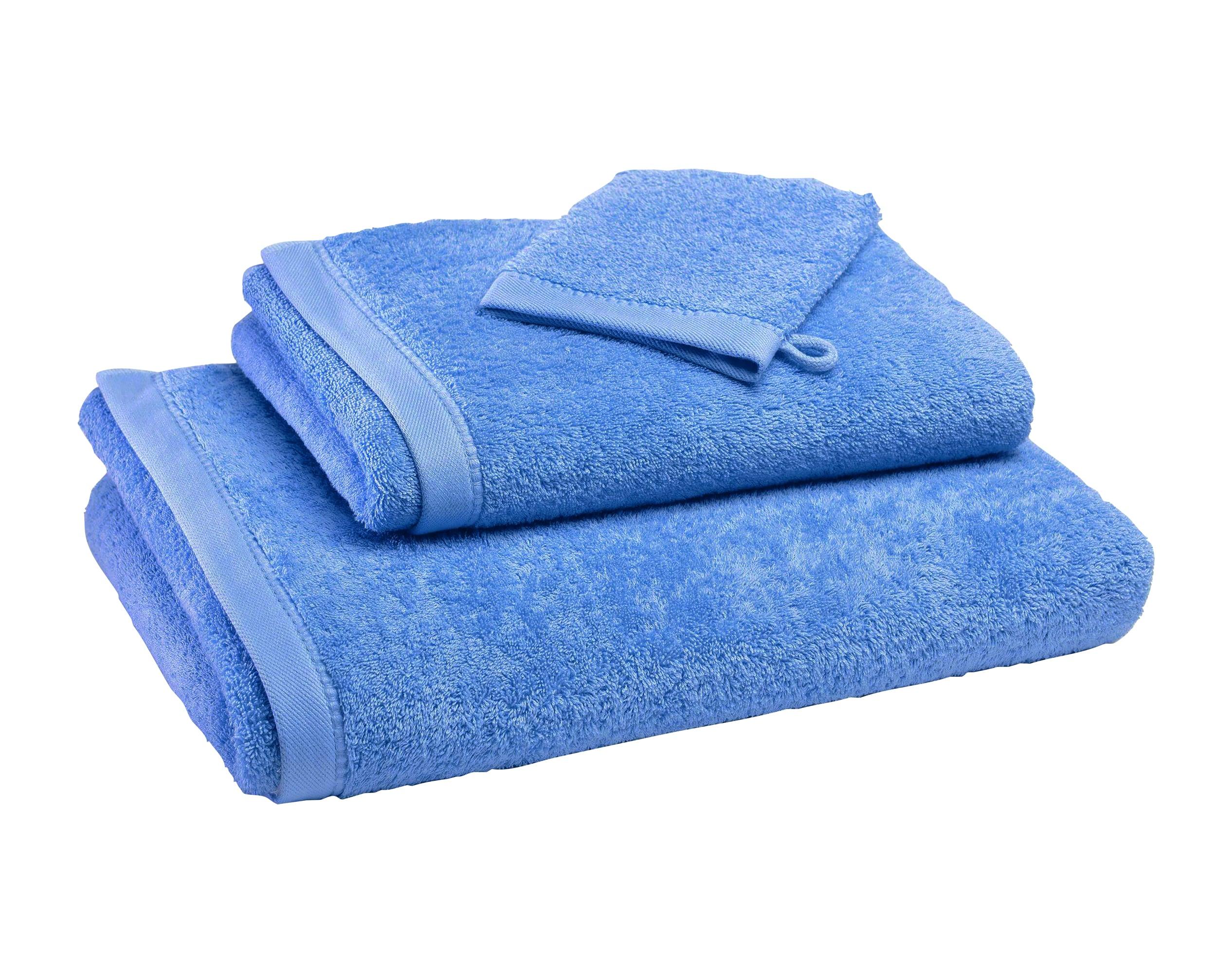 Gants de toilette bleu 15x21 en coton bio
